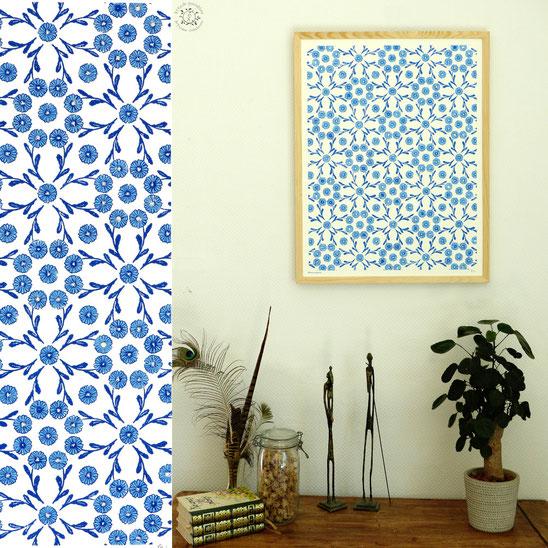 Kitsch, paradise, artisan, créateur, art, dessin, nature, linogravure, gravure, fleur, papier peint, tapisserie