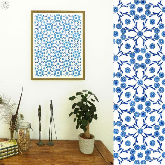 kitsc-paradise kp exposition encre de chine gravure petite marguerite tapisserie linogravure bleu porcelaine