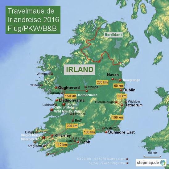 Irland Karte Rundreise.Irland 2016 Eine Individuelle Rundreise Reisetagebuch