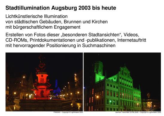 Dokumentation Stadtillumination Stadt Augsburg 2003 bis 2010 Medienpreis Augsburg - Wolfgang F. Lightmaster