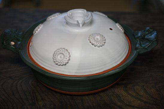 陶芸家 ブログ 土鍋作品 耐熱 直火 空焚き デザインが素敵 菊花土鍋