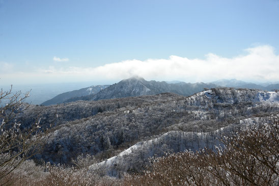 新春の御在所岳のパノラマ