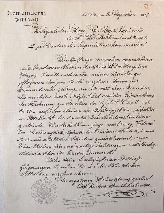 Bittschreiben von Gemeindeschreiber Alfred Rüetschi (Schweiz. Wirschaftsarchiv, Uni Basel; CH SWA HS 206 U)