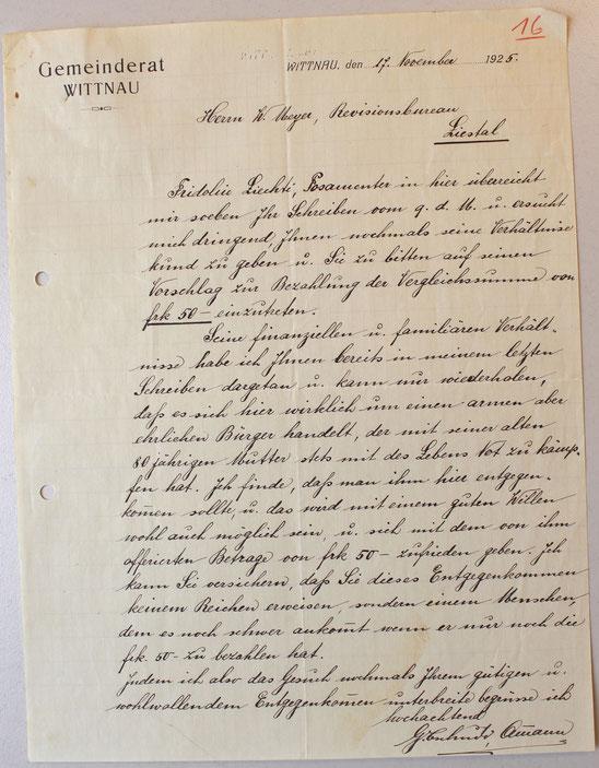 Bittschreiben von Ammann Gustav Tschudi (Schweiz. Wirschaftsarchiv, Uni Basel; CH SWA HS 206 U)