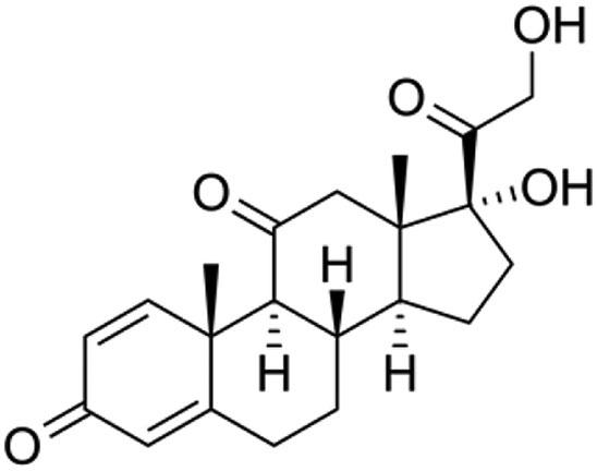 Graphic of chemical formula of Prednisone