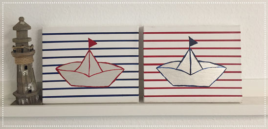 Dekorative Acryfarbenbilder im maritimen Flair 'Origamiboot' - 'Papierschiffchen'