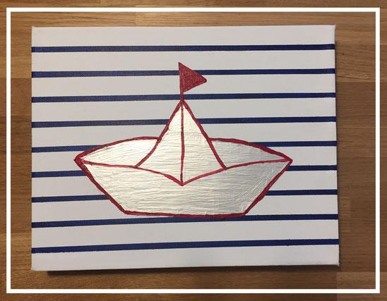 Acrylbild Papierschiffchen - Origamiboot