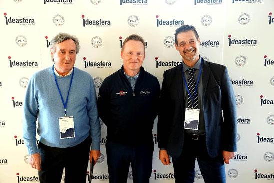 """Il nostro Pro Marco Ceolin con Phil Kenyon """"putting coach"""" di Francesco Molinari (al centro) e il collega Andrea Ferlito"""
