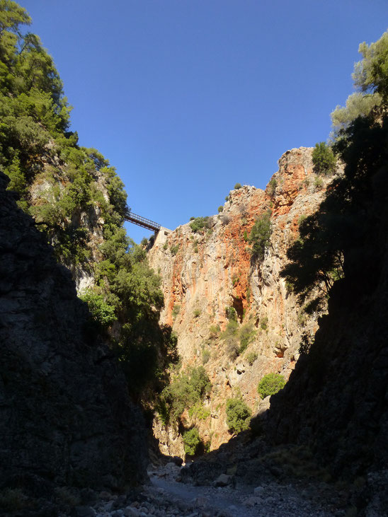 The Aradena Gorge from below with the bridge showing at the top