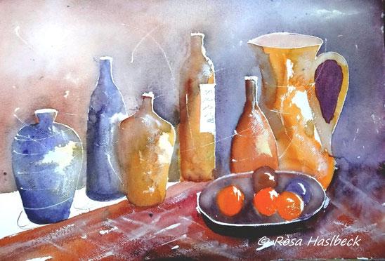 aquarell, stillleben, krüge, krug, flaschen, kerze, rot, beige, blau, , bild, handgemalt,  kunst, bild, wanddekoration, geschenkidee, dekoration, wandbild, art, malen, malerei