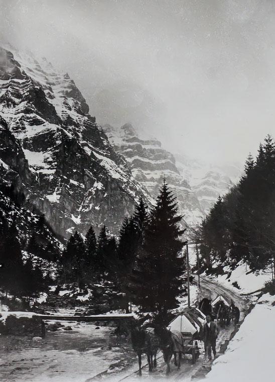 Abtransport der Eisplatten. (Sammlung Fritz Weber-Worni)