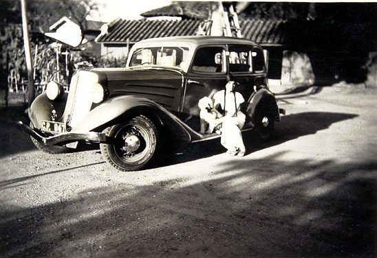 Meheru Jessawala circa mid-1930's, place unknown sitting on Elizabeth Patterson's 1935 Ford Model 48 Deluxe Convertible Sedan. Courtesy of the Jessawala Collection - AMB Archives, Meherabad, India.
