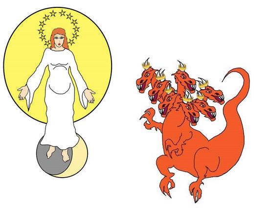 Dès qu'il est précipité sur la terre, le principal objectif de Satan est de s'attaquer aux représentants de Dieu et Jésus. Quand le dragon vit qu'il avait été précipité sur la terre, il poursuivit la femme qui avait mis au monde l'enfant.