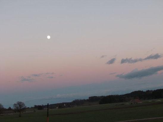 Achtsamer Spaziergang bei Sonnenuntergang im Allgäu