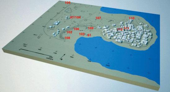 Les chantiers de la saison de fouilles 2014-2105 (M. Hense)