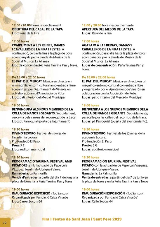 Vinatos Fira i Festes Sant Joan i Sant Pere Programa