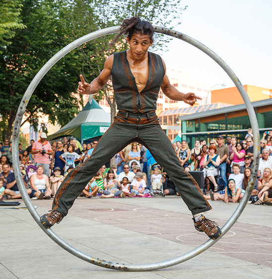 Pancho Libre Street Performer in a Cyr Wheel