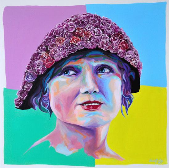 Pop-Art Gemälde einer jungen Frau mit einem Hut aus roten Rosen, mit Acrylfarben auf Leinwand gemalt.