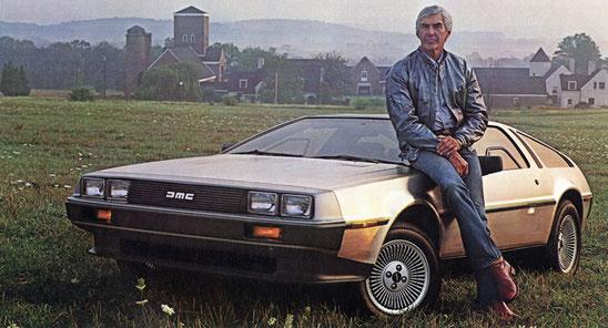 """John Z. DeLorean und """"sein Baby"""""""