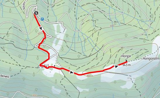 Route auf den Hongar Gipfel