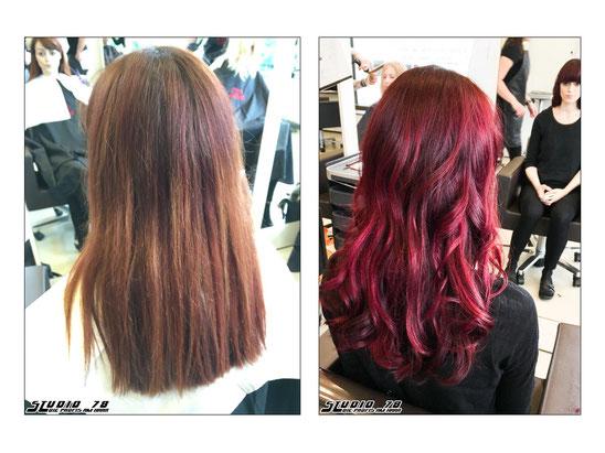 Rot Haarfarbe Coloration vorher nachher