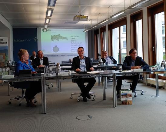 Maren Kern, Winfried Clever, Dr. Christian Lieberknecht, Axel Gedaschko, Wolfram Gay und Gerhard Müller bei der Versammlung am 24.11.2020 beim GdW. (von links)
