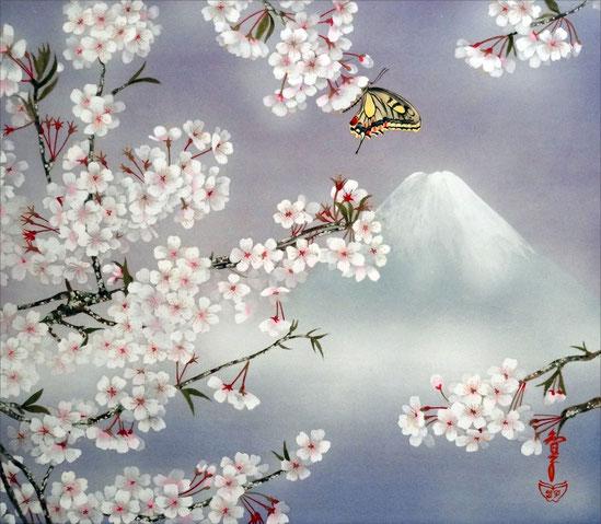 「富士と桜」 紙本岩彩 F10