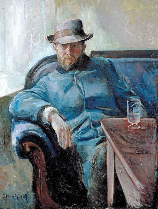 エドヴァンス・ムンク『ハンス・イェーゲルの肖像』(1889年)