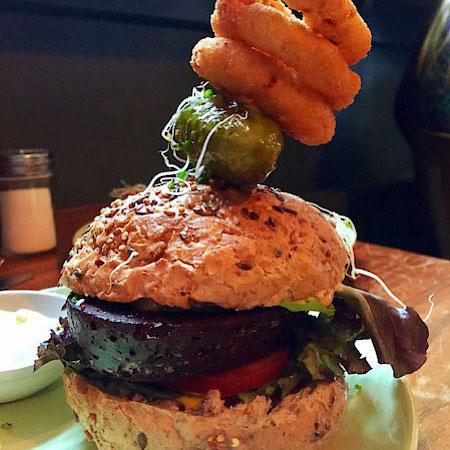 vegan burger at vegan food pimp