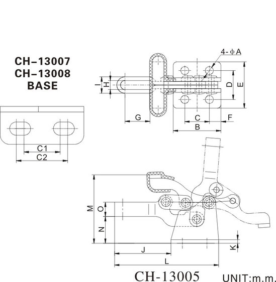 Drawing Compact toggle clamp CH-13007 and CH-13008