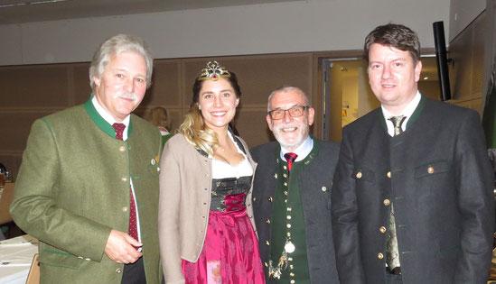 v. l. n. r. Ralph Keller; Jagdkönigin; Manfred Werne, MdL Sandro Kirchner
