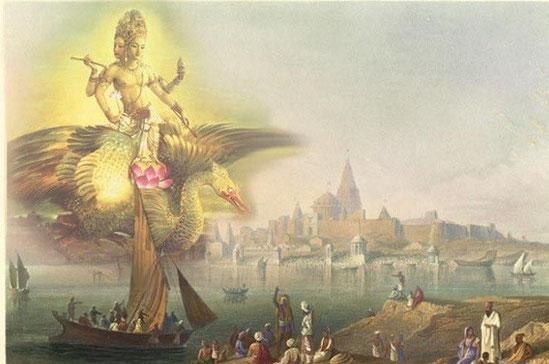 Brahma fliegt auf einem mystischen  Schwan, Hamsa genannt. Dieser wird auch als Weiße Wildgans bezeichnet. Brahmas Begleittier ist die mystische Gans, die ihn geistesschnell an jeden gewünschten Ort im Universum fliegen kann