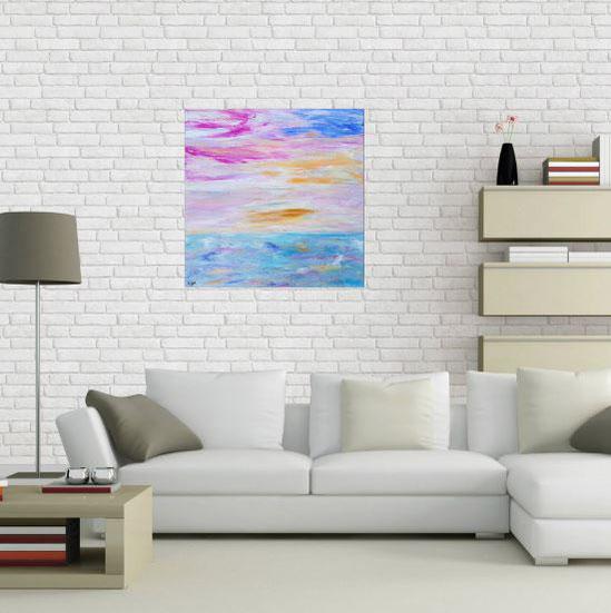 tableau-abstrait-ocean-pastel-relaxant-zen-gold