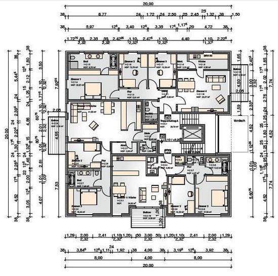 Grundriss der Stadtvilla: 1. und 2. Obergeschoss mit 3 abgeschlossenen Wohneinheiten