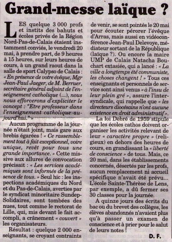 Article paru dans le Canard Enchainé du 25 mai 2011