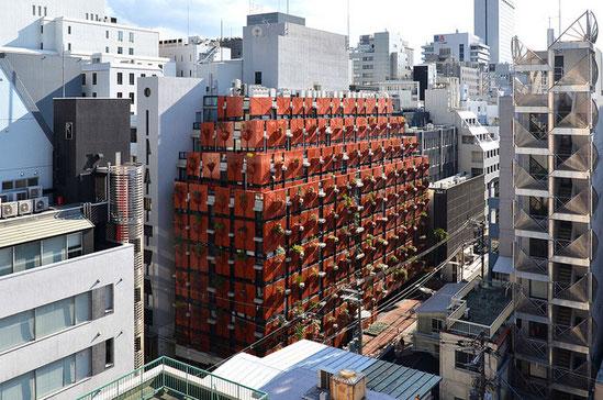 今回の会場はこの赤いビル(オーガニックビル)の5階にあります。
