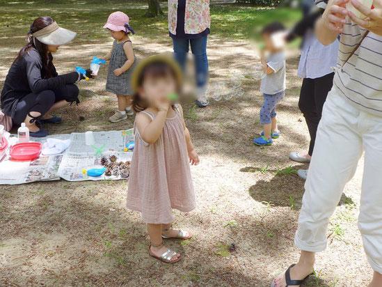 幼児教室の課外授業・シャボン玉遊び