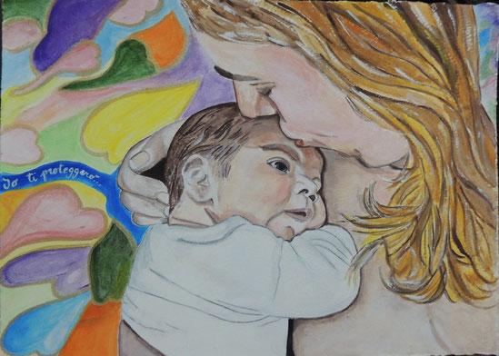 """Titolo: """"Io ti proteggerò""""_acrilico su carta da disegno_25x34_2014"""