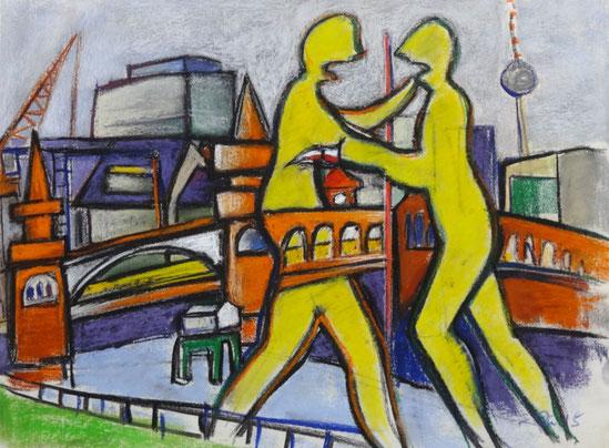 Modernes, leicht abstrahiertes Pastell in Kontrastfarben Orange, Gelb, Violett und Grautönen. Zu sehen ist die Ansicht von Berlin auf der Höhe der Molecule man in Richtung Stadtmitte.
