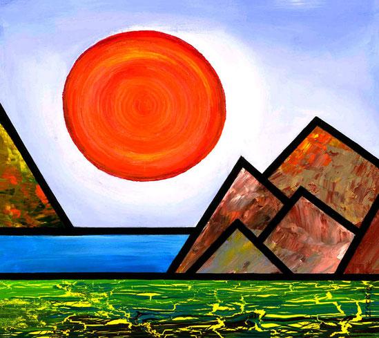 """""""Orange"""" de la serie Sun & Moon / Acrylic on canvas / 12 x 12 inches"""
