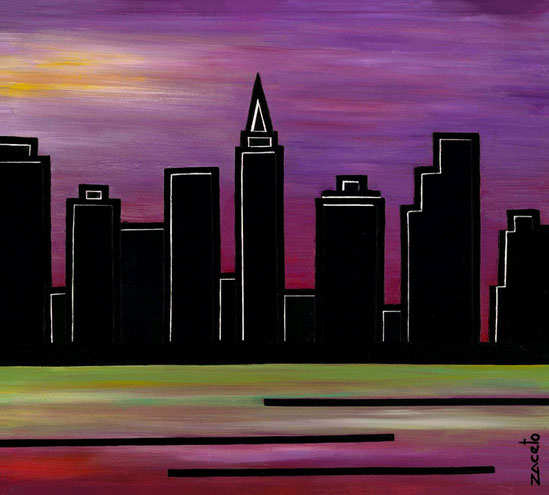 """New York"" de la serie El palpitar de una ciudad / Acrylic on canvas / 16 x 16 inches"