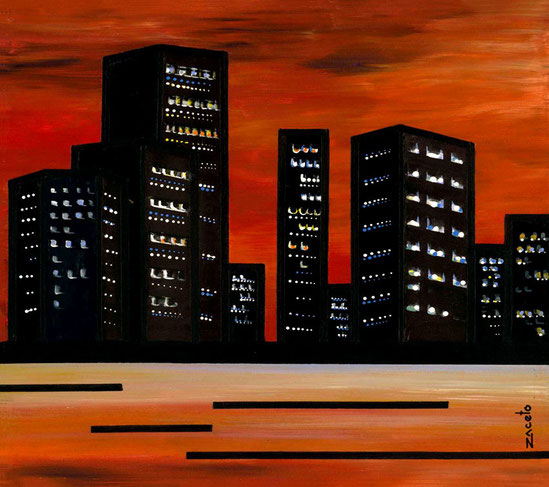 """Miami"" de la serie El palpitar de una ciudad / Acrylic on canvas / 16 x 16 inches"