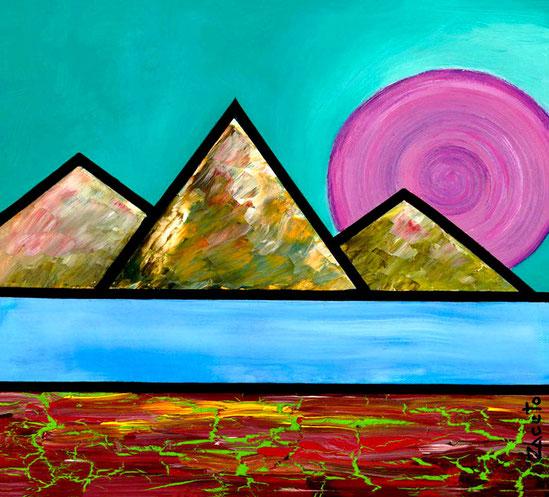 """""""Purple"""" de la serie Sun & Moon / Acrylic on canvas / 12 x 12 inches"""