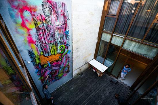 fresque en cours de réalisation avant l'exposition