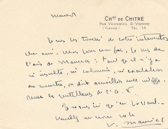 François Mauriac carte autographe signée