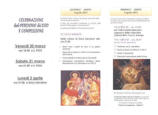 Programma  di Pasqua  a San Pio X e Gesù Salvatore