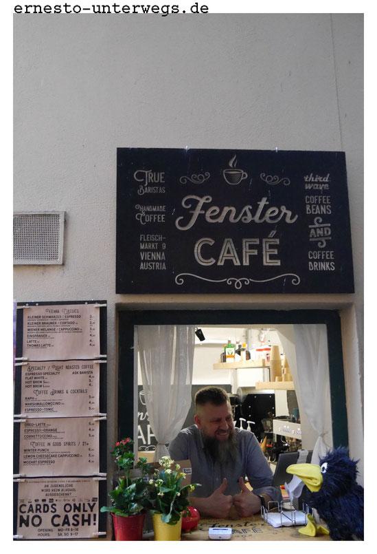 Fenstercafé, Fenster-Café, Wien, Ernesto, Reiserabe, reisen, Reise, unterwegs, Ausflug, Vienna, Fleischmarkt, Österreich, Austria