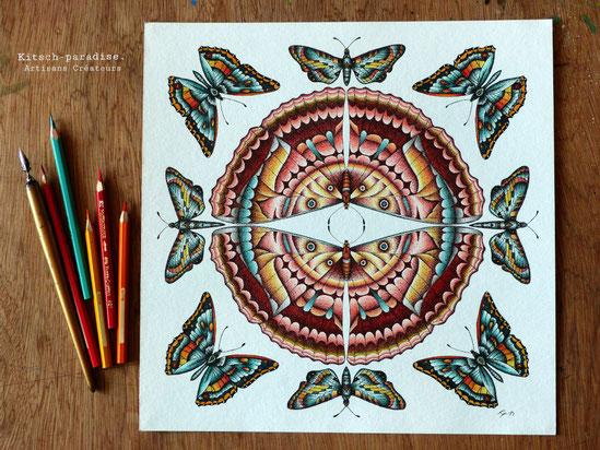 Kitsch, paradise, artisan, créateur, art, nature, papillon, photographie, mandala, encre de chine