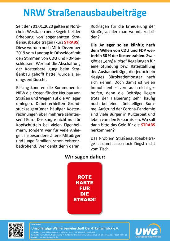Flugblatt NRW Straßenbaubeiträge