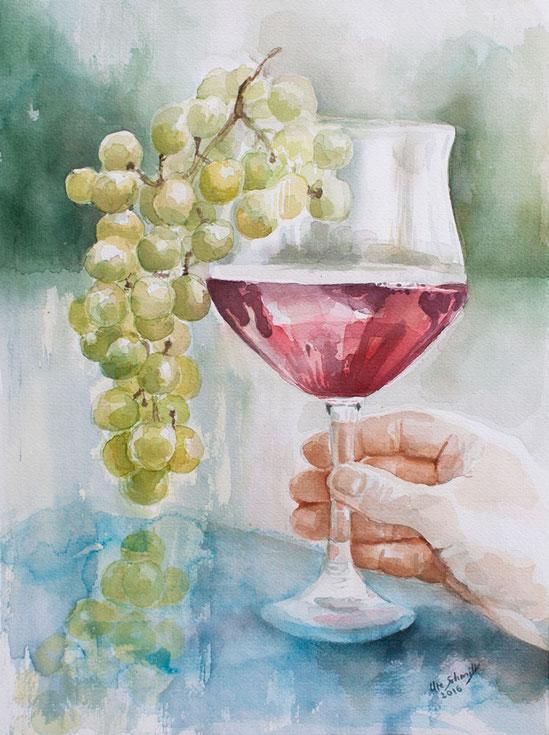 """""""Weinglas"""", 2016, Aquarell auf Aquarellpapier, 30x40cm"""